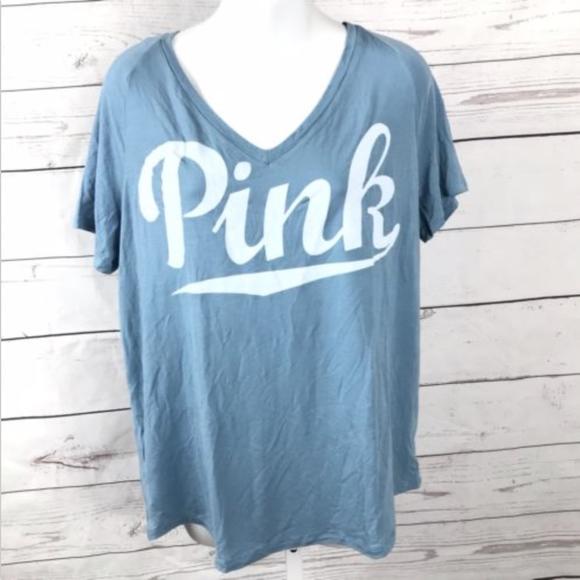 c1026f2afaed5 PINK Victoria's Secret V-Neck Logo Tee T-Shirt XS NWT